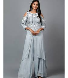 Grey Sequins work kurta in Georgette and Pallazo