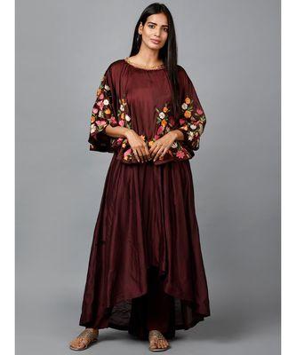 Maroon Floral Cape Suit