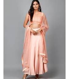Peach Cotton Lace Crop top, Moss crepe Flare Skirt and Embroidered Net Dupatta