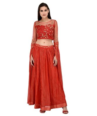 Miracolos Red Hand Embellished Sequins Ethnic Party Dress