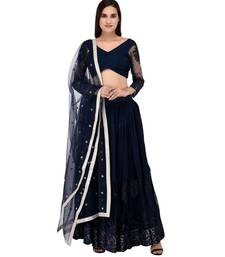 Dark Blue Georgette Embroidered Net Lehanga with pin tucks pleated blouse