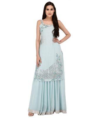 Light Blue Embroidered halter neck kurta with Georgette Lehanga set