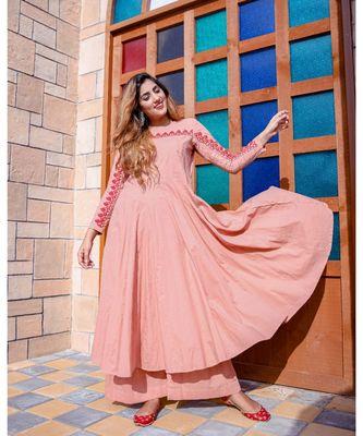Blush Pink Red Dori Work Maxi Dress With Palazzo (Set of 2)