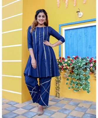 Blue Criss Cross Gota Kurta With Pant (Set of 2)