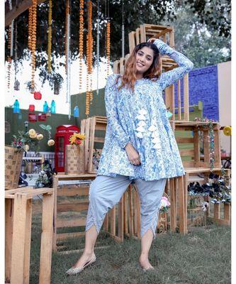 Blue Angrakha Kurta With Dhoti (Set of 2)