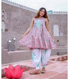 Pink & Green Mughal Butta Patch Kurta With Salwar (Set of 2)