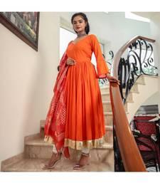 Orange Kanchali Anarkali Suit (set of 2)