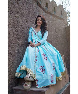 Sky Blue Kanchali Anarkali Suit (set of 2)