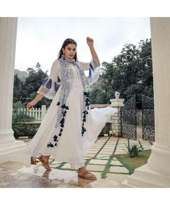White Chiffon Tasselled Anarkali Suit (Set of 3)