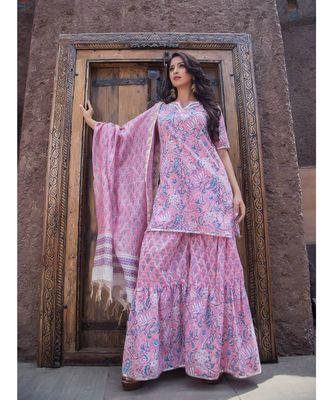 Pink Bageecha Sharara Set (Set of 3)
