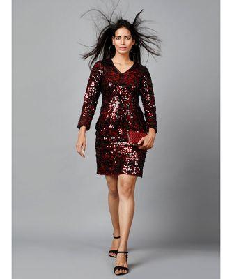 Miracolos Red and Black Sequins Embellished Party V-neck Short Dress