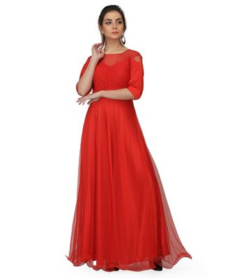 Women's Pleat Draped Red Gown