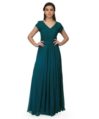 Women's Chiffon Drape Ruching Maxi Gown Green