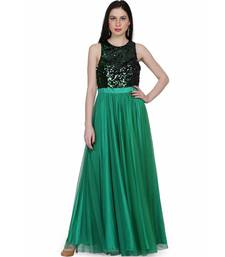 Women's Net Maxi Sequins Evening Gown Green