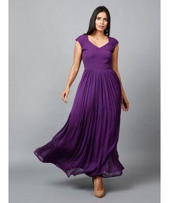Women's Drape Chiffon Party/ Evening/ Gown in Purple