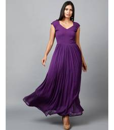Women's Drape Chiffon Party/ Evening/ Gown in Purple