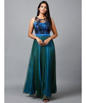 Blue Green Net Gown