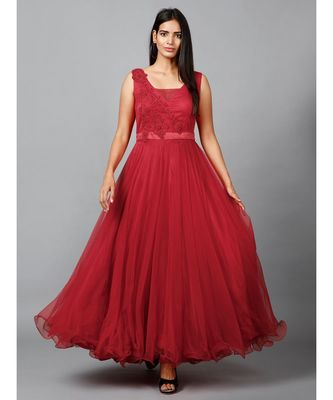 Red Net Bridesmaid Gown