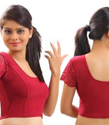 Maroon Lycra Stretchable Blouse & Crop Top-L