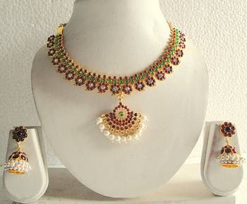 Beautiful Mango Temple Necklace Set