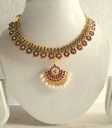 BEAUTIFUL UNIQUE PEARL GOLD TONE ROYAL MAROON GREEN TEMPLE NECKLACE EARRINGS shop online