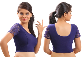 Navy Blue lycra stretchable Blouse & crop top-L