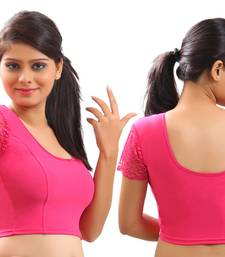 Pink lycra stretchable Blouse & crop top-L
