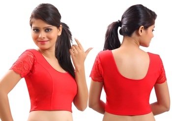 Red Lycra Stretchable Blouse & Crop Top-L
