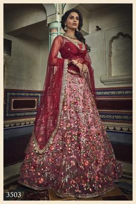 Red Zari and Thread Embroidered Net Semi Stitched bridal lehenga