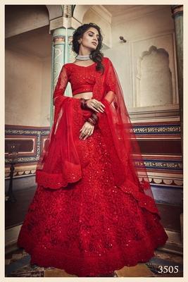 Captivating Red Dori & Sequins Embroidered Net Semi Stitched Lehenga