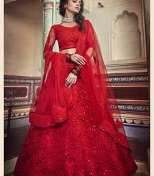 Captivating Red Dori & Sequins Embroidered Net Semi Stitched bridal lehenga