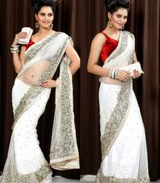 White Sequence work Georgette saree with blouse