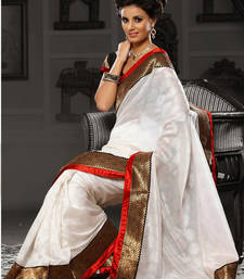 Buy White Brasso viscose saree with blouse viscose-saree online