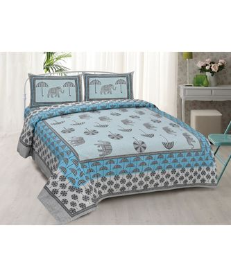Pure Cotton Multicolour Jaipuri Double Bed Sheet With 2 Pillow Cover
