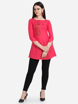 Pink embroidered viscose short-kurtis