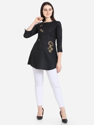 Black embroidered viscose short-kurtis