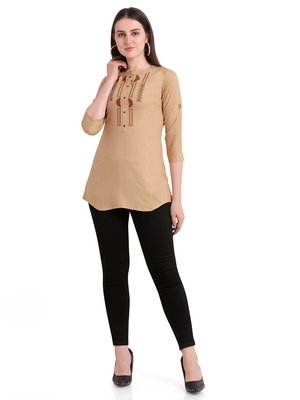 Beige embroidered viscose short-kurtis