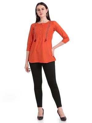 Orange embroidered viscose short-kurtis