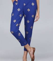 Blue printed cotton trousers