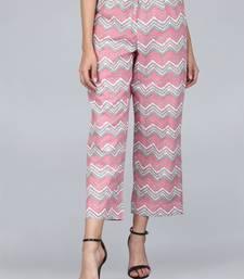 Pink printed cotton palazzo-pants