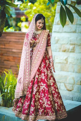 Pink Embroidered Velvet Semi Stitched Lehenga