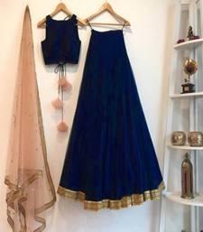 Navy Blue Plain Art Silk Semi Stitched Lehenga