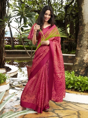 Red Brasso Brasso Saree With Blouse