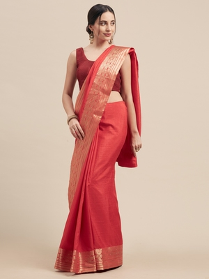 Red Coloured Solid Galexy Silk Saree With Blouse Piece