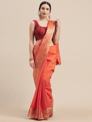 Orange Coloured Solid Galexy Silk Saree With Blouse Piece