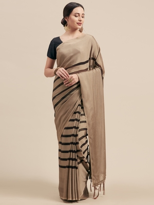 Brown Coloured Star Chiffon Saree With Blouse Piece