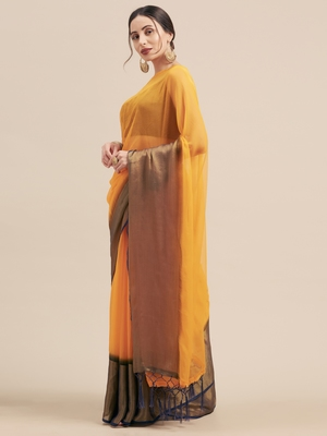 Yellow Coloured Viscos Chiffon Saree With Blouse Piece