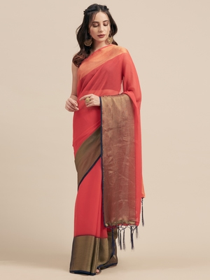 Red Coloured Viscos Chiffon Saree With Blouse Piece