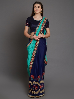 Green pure georgette embroidered saree with heavy embriodered blouse