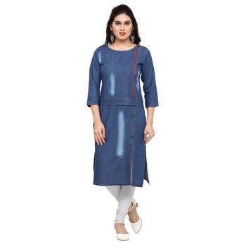 Blue plain cotton kurtas-and-kurtis